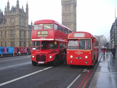 RM713 passes RF486, last day of regular Routemaster operation
